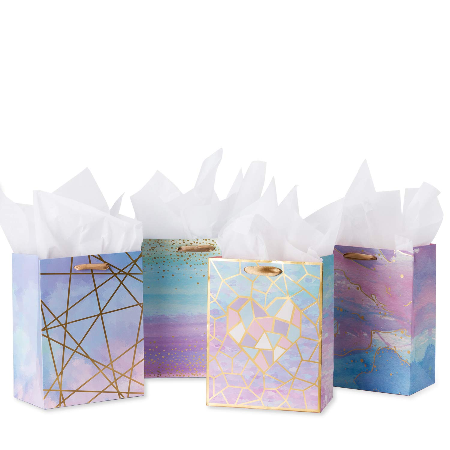 """Loveinside Medium Size Gift Bags-Colorful Marble Pattern Gift Bag with Tissue Paper for Shopping,Parties,Wedding, Baby Shower, Craft-4 Pack-7"""" X 4"""" X 9"""""""