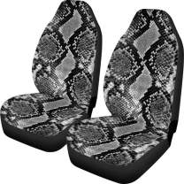 Dellukee Personalized Car Seat Covers Snake Skin Print Universal 2pc Front Car Seat Cover Protectors for Most Car Truck SUV Van