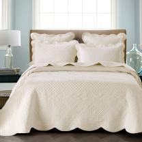 Calla Angel Sage Garden Luxury Pure Cotton Quilt, King, Ivory