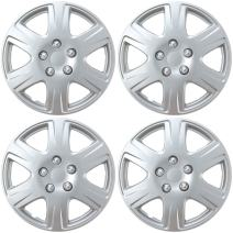 """BDK HK993 Silver 15"""" Hubcaps Wheel Covers for Toyota Corolla (15 inch) – Four (4) Pieces Corrosion-Free & Sturdy – Full Heat & Impact Resistant Grade – OEM Replacement, 4 Pack"""