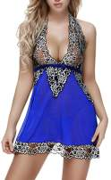 Ruzishun Lingerie for Women Babydoll Floral Lace Chemise with G-String