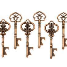 Makhry Mixed 20 Extra Large Key Shape Bottle Openers Antique Copper Skeleton Keys - 2 Styles,20 Key Openers (Antique Copper)