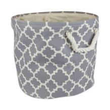 """DII Collapsible Polyester Storage Basket or Bin with Durable Cotton Handles, Home Organizer Solution for Office, Bedroom, Closet, Toys, Laundry (Medium Round – 12x15""""), Gray Lattice"""