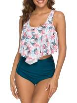 Voopptaw Women Two Piece Swimsuit Flounce Crop Bikini Top with High Waisted Bottom