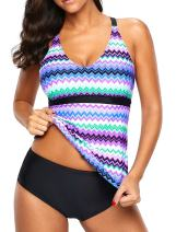 Eternatastic Womens Wave Printed Tankini Top Crossed Back Bathing Suit Swimsuits Purple