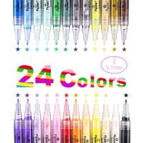 LOBKIN Premium Acrylic Paint Pen, Drawing Pens Markers Paint Pen for Rock Painting, Canvas, Photo Album, DIY Craft, School Project, Glass,Wood, Metal. Extra Fine Point Tip Marker Pen (24pcs-0.7mm)