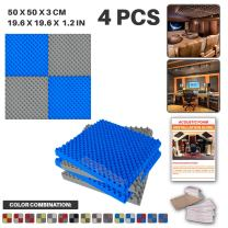 Acepunch 4 Pack - 2 pcs Gray and 2 pcs Blue Egg Crate Convoluted Grid Acoustic Foam Panel Studio Soundproofing Wall Tiles Sound Insulation 19.6 X 19.6 X 1.2 in AP1052
