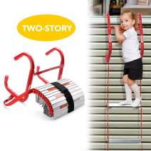 DELXO Fire Escape Ladder, 2 Story Portable Emergency Escape Ladder, All New Anti-Slip Step, Easy to Deploy & Easy to Store 13 Feet Portable Fire Escape Ladder