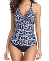 Yonique Women Tribal Printed Tankini Swimsuit 2 Piece Strappy Bathing Suit Slimming Swimwear