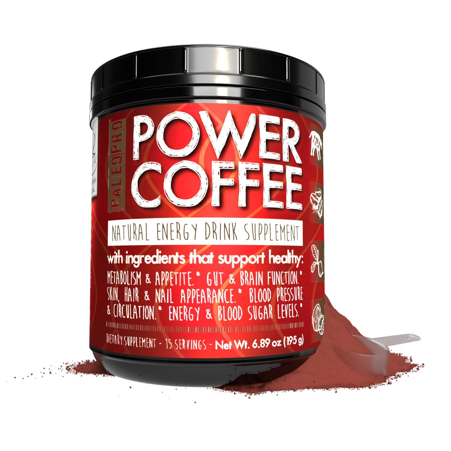 PaleoPro Paleo Power Coffee Energy Drink Supplement Powder from 100% Arabica Coffee with Grass-Fed Collagen, MCT Rich Coconut Oil and Beet Root, Keto Ingredients, About 15 Servings
