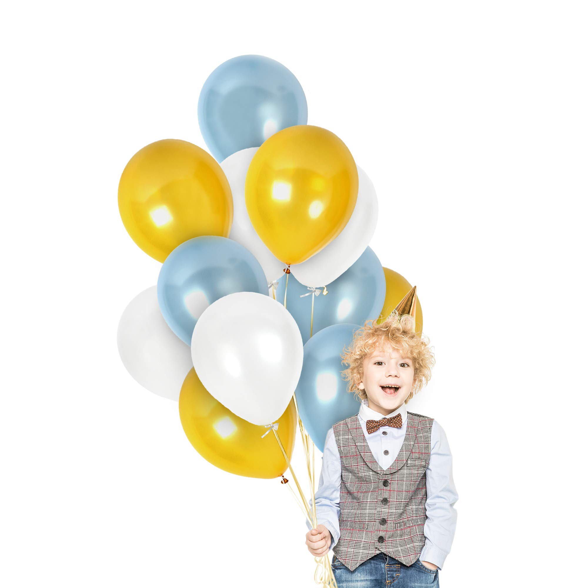 Metallic Gold White Light Blue Balloons Garland 100 Pack 12 Inch Latex Balloon Graduation Decorations For Birthday Baby Shower Gender Reveal Party Supplies