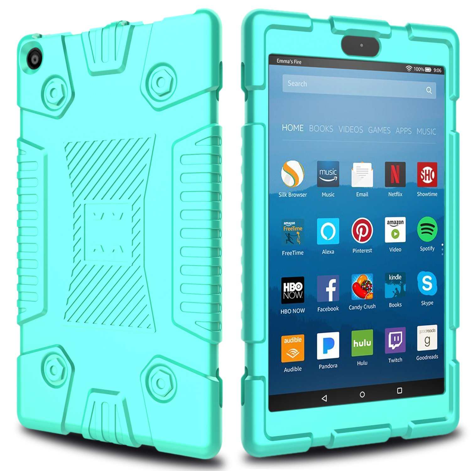Elegant Choise for Fire 8 Tablet Case, Kindle Fire 8 Case, Soft Silicone Kid Friendly Light Weight Shockproof Protective Case Cover for All-New Amazon Kindle Fire HD 8 7th and 8th Generation (Green)