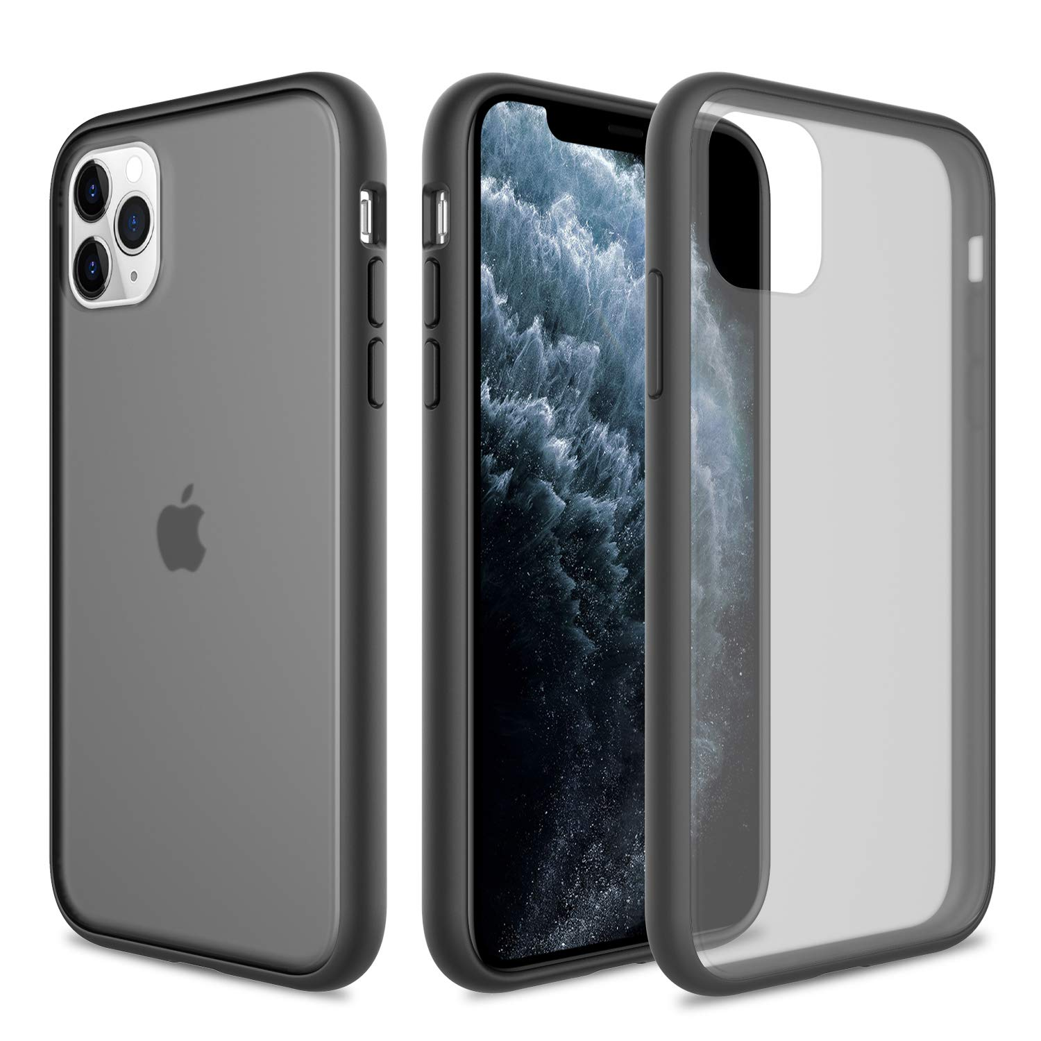 Elegant Choise for iPhone 11 Pro Max Case 6.5 Inch (2019) Support Wireless Charger Hybrid Clear Ultra Thin Slim Fit Frosted Translucent Shockproof Anti-Scratch Non-Slip Rugged Protective Cover(Black)