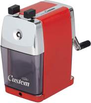 Carl Pencil Sharpener, CC-2000, Custom, Red, 5-Point Selector. Manual, Quiet for Office and Home Desks, School Classroom