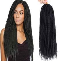 "Befunny 22"" 8Packs Crochet Senegalese Twist Braids Hair Small Senegalese Twists Crochet Hair Micro Long Havana Mambo Twist Crochet Braids For Black Women 24Strands/Pack (22"", 1B Black Color)"