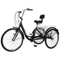 Barbella Adult Tricycles, 7 Speed Adult Trikes 20/24/26 inch 3 Wheel Bikes, Cruise Bike with Large Size Basket for Recreation, Shopping, Exercise Men's Women's Bike