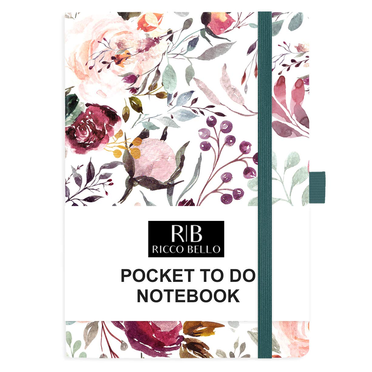 RICCO BELLO Small Hardcover Pocket to Do List Notebook, Elastic Band Closure, Pen Loop, Ribbon Bookmark, Storage Pocket, 4.25 x 6 inches (Blossoms)