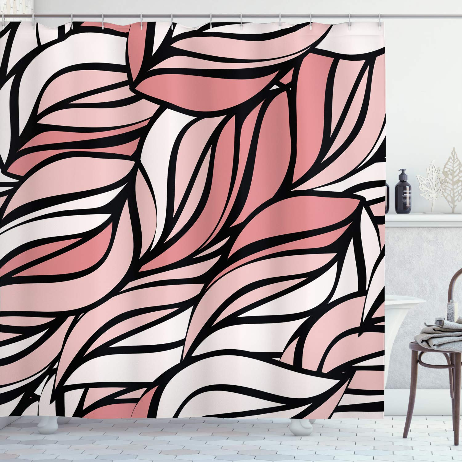 """Ambesonne Coral Shower Curtain, Digital Curving Mix Twisted Forms with Tangled Lines Knotty Color Illustration Image Print, Cloth Fabric Bathroom Decor Set with Hooks, 70"""" Long, Pink"""