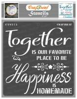 CrafTreat Quote Stencils for Painting on Wood, Canvas, Paper, Fabric, Floor, Wall and Tile - Happy Together - 6x6 Inches - Reusable DIY Art and Craft Stencils - Family Stencil for Wall