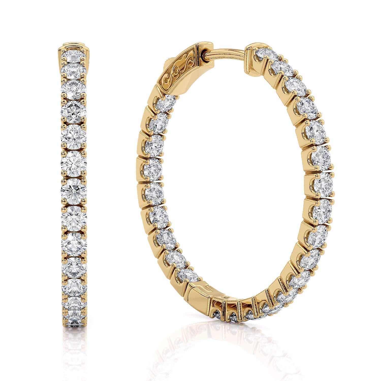 1 Carat Diamond Hoop Earrings for Women - 14 Karat Yellow Gold Hoop Earrings - Elegantly Crafted and Real Natural G-H Color White Diamond Hoop Earrings with Secure Lock by Beverly Hills Jewelers