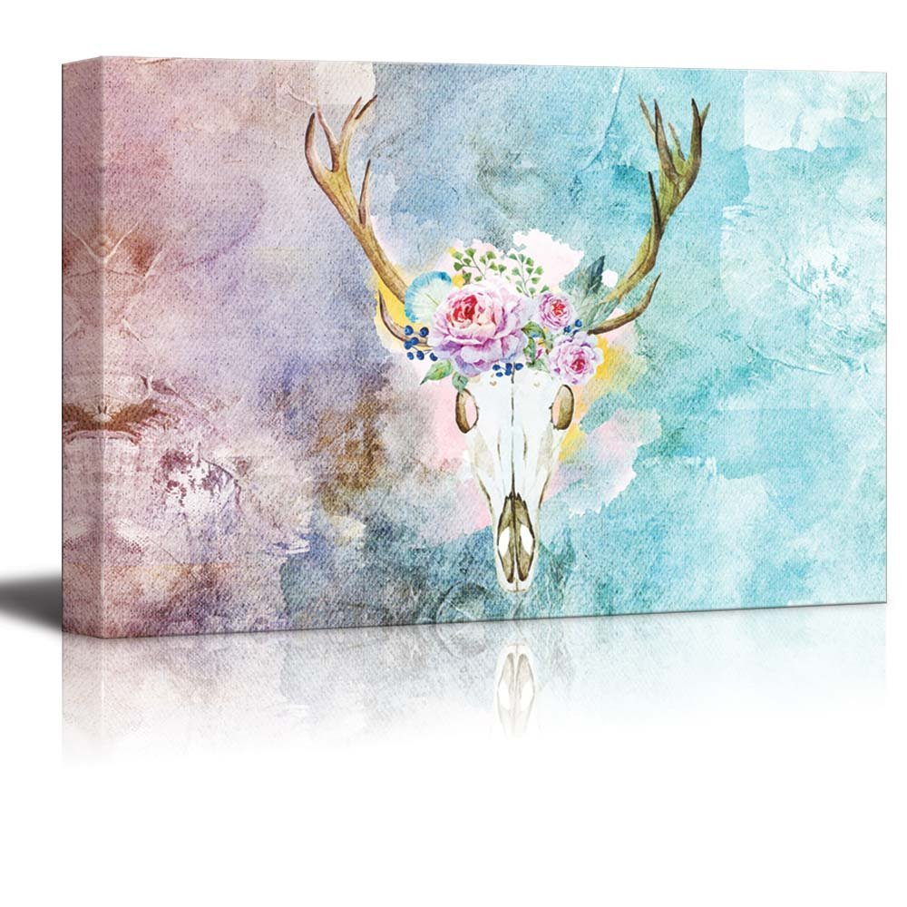 wall26 Painting of a Deer Skull with a Crown of Flowers on a Water Color Background - Canvas Art Home Decor - 16x24 inches