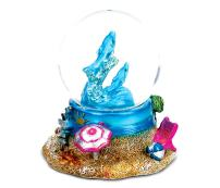 "CoTa Global Resin Stone Cool Summer Dolphin Coastal Snow Globe (45mm), 2.5"" Sea Animals Glass Statue Art Handcrafted Glitter Dome Tabletop Sculpture Desk Centerpiece Accent - Ocean Home Décors"