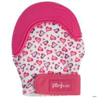 PBnJ baby Silicone Infant Teething Mitten Teether Glove Mitt Toy with Travel Bag (Heart)
