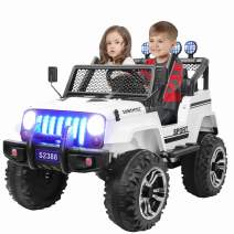 Kuntai Kids Electric Car, 2 Seater Battery Powered Car for Kids,Kids Ride on Car with Remote Control, LED Lights, MP3 Player, Safety Belt, Spring Suspension, Dual Drive White