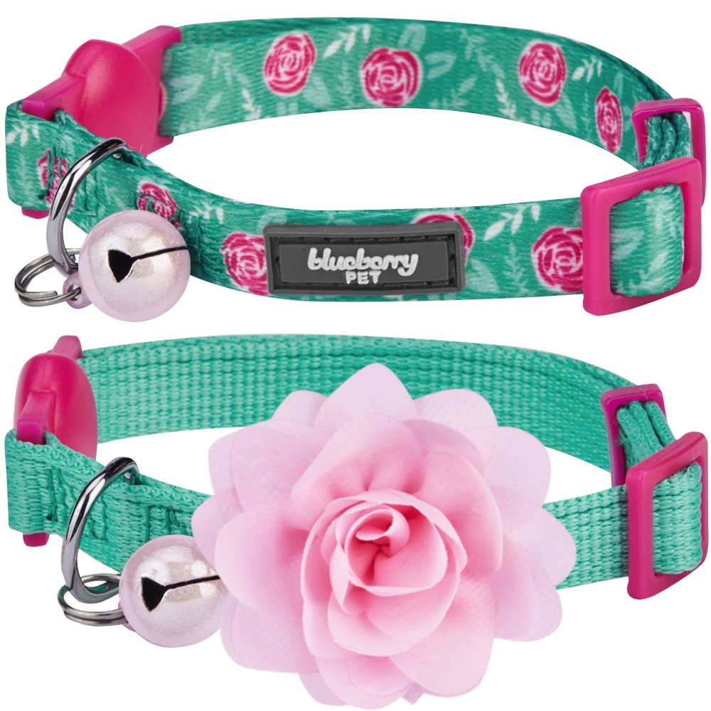 Blueberry Pet 3 Patterns The Power of All in One Breakaway Cat Collars, with Personalization Options
