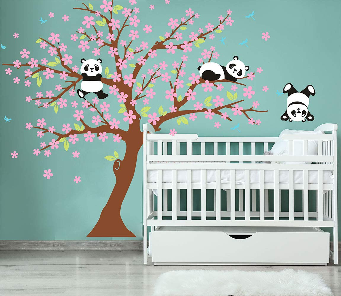 Three Playful Pandas Bear on Cherry Blossom Tree Wall Decal Tree Wall Sticker Nursery and Children's Room (Brown+Pink)