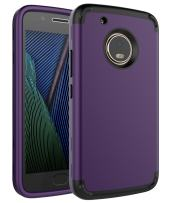 Moto G5 Plus Case,SKYLMW Three Layer Heavy Duty High Impact Resistant Hybrid Protective Cover Case for Moto G Plus (5th Generation),Purple/Black