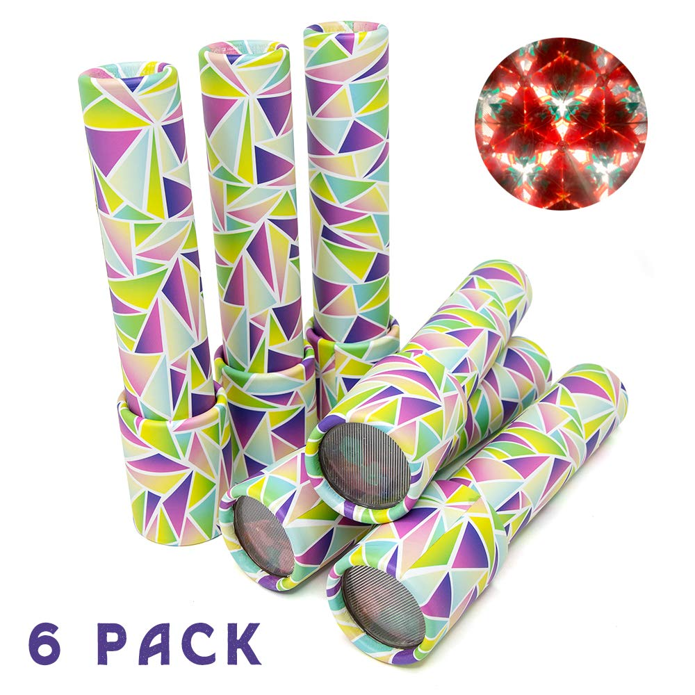 GloFX Classic Kaleidoscope Toy - 6 Pack - Educational Toy for Kids - Children Birthday Party Favor Gift - Prism Optical Light Toy