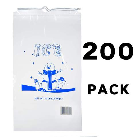 Ice Bag with Cotton Drawstring - Clear Plastic Ice Bags - Commercial Ice Bags - Heavy Duty Ice Bags (10 lb Ice Bags - Qty 200)