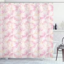"Ambesonne Pastel Shower Curtain, Soft Pink Flower Petals Watercolor Painting Style Rose Blossom Romantic Gentle, Cloth Fabric Bathroom Decor Set with Hooks, 70"" Long, Light Pink"