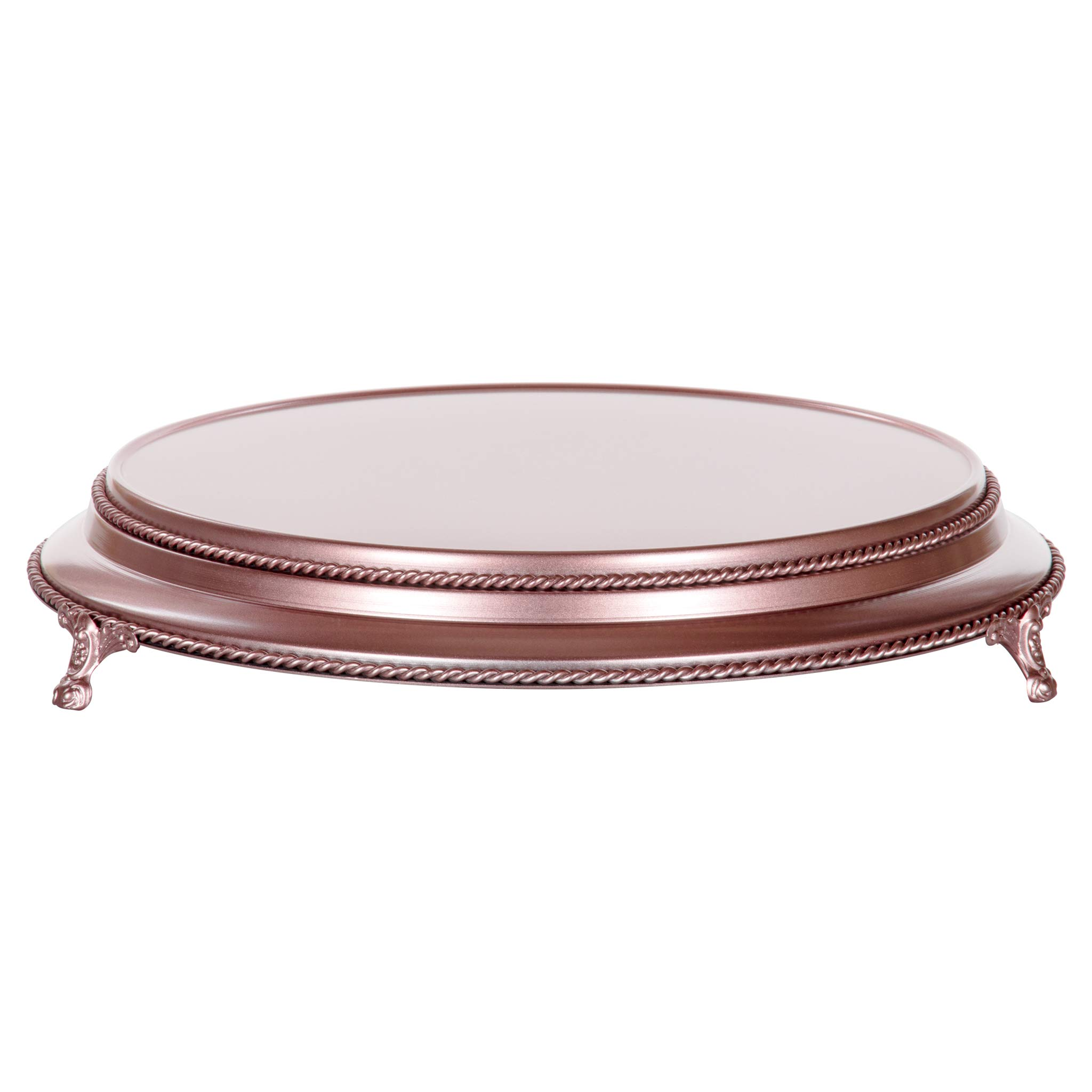 Amalfi Decor 16 Inch Cake Stand Plateau Riser, Large Dessert Cupcake Pastry Candy Display Plate for Wedding Event Birthday Party, Round Metal Pedestal Holder, Rose Gold