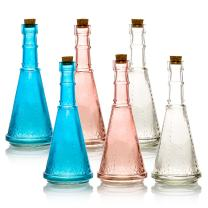 Quasimoon PaperLanternStore.com 6pc Marguerite Vintage Glass Bottles Decorative Colorful Wedding Flower Vases