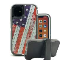 Harsel Heavy Duty Scratch Resistant Defender Camouflage Design Hybrid Armor Military Grade Protection Shockproof Durable Case Cover Bumper with Belt Clip for iPhone 11 Pro Max (American Flag)