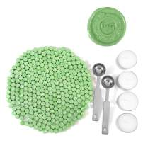 Green Sealing Wax Beads, Yoption 300 Pieces Octagon Wax Seal Beads Kit with 2 Melting Spoon and 4 Candles for Seal Stamp (Green)