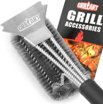 "GRILLART Grill Brush and Scraper Best BBQ Brush for Grill, Safe 18"" Stainless Steel Woven Wire 3 in 1 Bristles Grill Cleaning Brush for Weber/Charcoal Grill, Gifts for Grill Wizard Grate Cleaner"