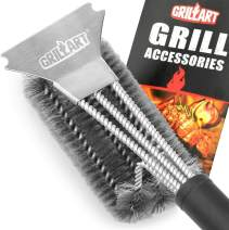 """GRILLART Grill Brush and Scraper Best BBQ Brush for Grill, Safe 18"""" Stainless Steel Woven Wire 3 in 1 Bristles Grill Cleaning Brush for Weber/Charcoal Grill, Gifts for Grill Wizard Grate Cleaner"""