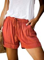 OURS Womens Casual Drawstring Elastic Waist Summer Shorts with Pockets