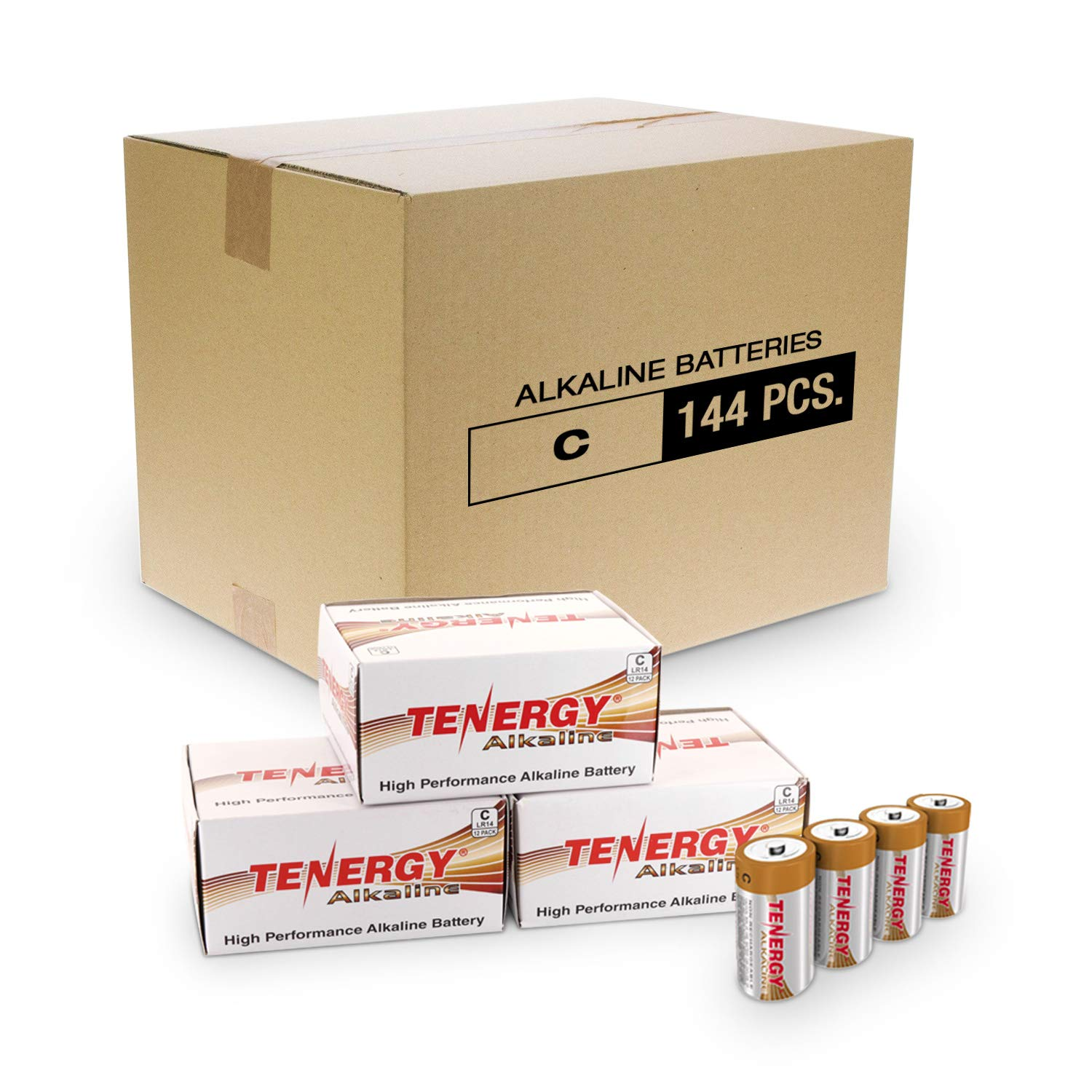 Tenergy 1.5V C Alkaline LR14 Battery, High Performance C Non-Rechargeable Batteries for Clocks, Remotes, Toys & Electronic Devices, Replacement C Cell Batteries,144-Pack…