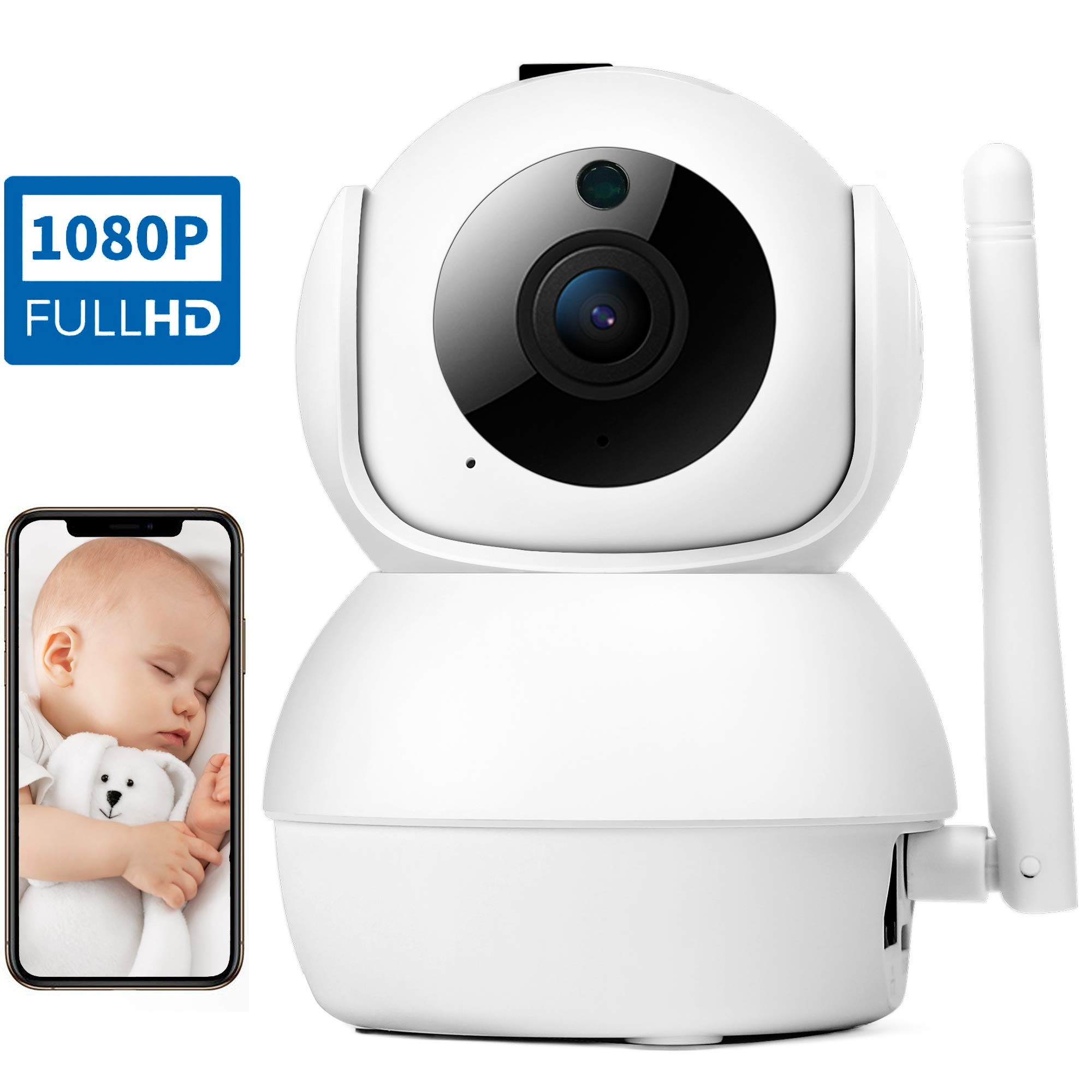 SDOM Baby Monitor Wireless Security Camera-1080P FHD WiFi IP Pet Camera with Two Way Audio Night Vision, Auto-Cruise, Motion Tracker, Activity Alert MicroSD Slot,Cloud Service Indoor Home Dome Camera