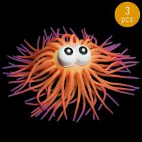 Lumistick LED Soft Puffer Ball - Flashing Light Eyes Featured Kids Toy Gift Hairy Spikes Squishy Rubber Ball (Orange, 3 Puffer Balls)