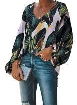 BiuclyWomensCasualFloral Print Boho V Neck Button Down Bell LongSleeves TopsLooseBlouseShirtsPullover(S-2XL)