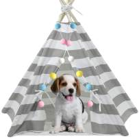 UKadou Pet Teepee Tent for Dogs, Grey Stripe Pet Teepee