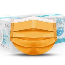 Pack of 100 - Orange - Disposable Face Masks - 3 Ply Protective Breathable Elastic Ear Loop Safety Mouth Cover