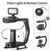 Handheld Stabilizer & Video Led Lights & Remote Control Skateboard for DJI OSMO iPhone 11 X 8 7, Sevenoak Handle Grip & Built-in Stereo Mic for Smartphone GoPro Sony Alpha RX0 DSLR Camera Camcorder