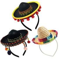 3 Pack Cinco de Mayo Fiesta Sombrero Headband Hat Mini Mexican Party Hat for Fiesta/Carnival/Birthday/Mexican Party Decorations Mexican Party Favors Black