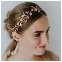 SWEETV Rose Gold Wedding Headband Bohemian Headpiece Crystal Pearl Hair Vine Flower Halo Bridal Hair Accessories